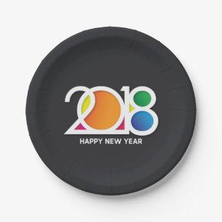 Assiettes En Papier Célébration de la partie de nouvelle année d'art