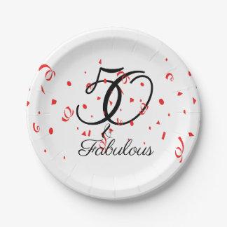 Assiettes En Papier Célébrez 50 et anniversaire fabuleux