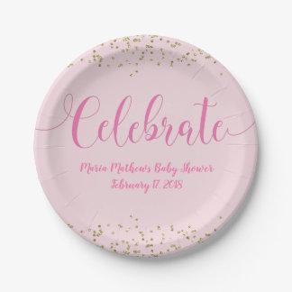 Assiettes En Papier Célébrez l'or de rose de bébé de baby shower