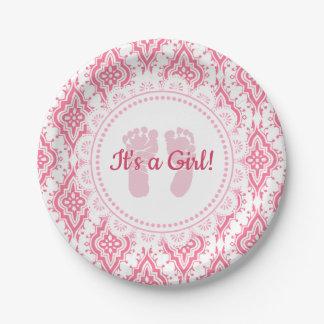 Assiettes En Papier C'est des plats de dentelle de rose de fille et