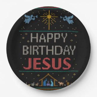 Assiettes En Papier Chandail laid de Noël - rouge de Jésus de joyeux