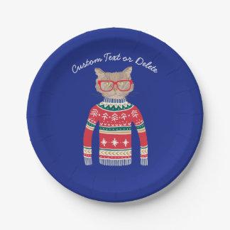 Assiettes En Papier Chandail laid drôle de Noël, amoureux des chats
