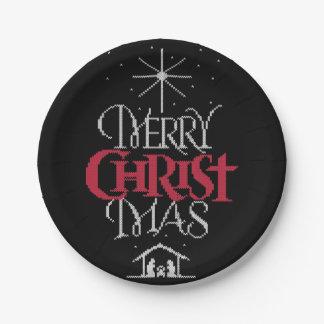 Assiettes En Papier Chandail laid religieux de Joyeux Noël de Knit de