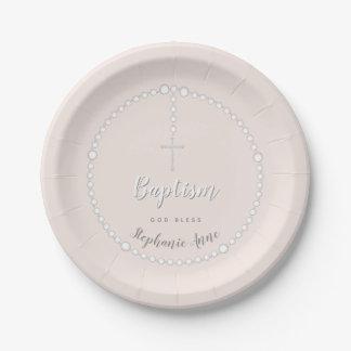 Assiettes En Papier Chapelet de baptême sur le rose