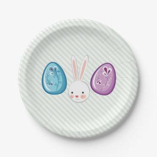 Assiettes En Papier Chasse mignonne à oeufs de Pâques Bunnyy et