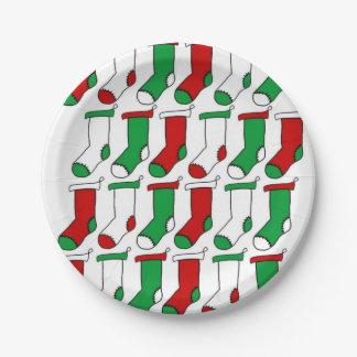 Assiettes En Papier Chaussettes de bas de Noël
