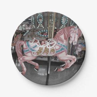 Assiettes En Papier Cheval rose de carrousel