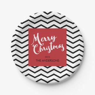 Assiettes En Papier Chevrons noirs et Noël rouge et Joyeux