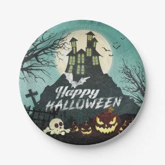 Assiettes En Papier Ciel nocturne hanté éffrayant Halloween de costume