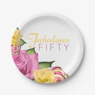 Assiettes En Papier Cinquante fabuleux dentellent anniversaire floral