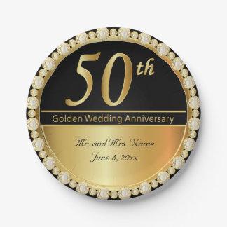 Assiettes En Papier cinquantième Anniversaire de mariage d'or