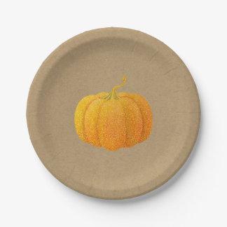 Assiettes En Papier Citrouille d'automne scintillé orange de parties
