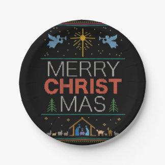 Assiettes En Papier Coloré religieux de chandail laid de Joyeux Noël