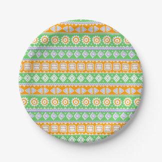 Assiettes En Papier Conception ethnique verte orange mignonne de