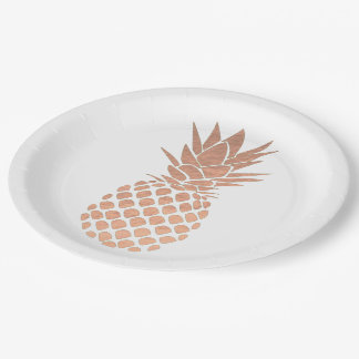 Assiettes En Papier conception rose d'ananas d'effet de feuille d'or