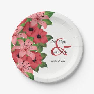 Assiettes En Papier Conception rose de mariage de fleur de canneberge