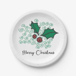 Assiettes En Papier Conception rouge et verte moderne de houx de Noël
