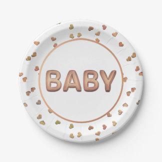 Assiettes En Papier Confettis de coeur du baby shower | de ballon de