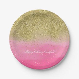Assiettes En Papier Confettis roses de scintillement d'or de Faux