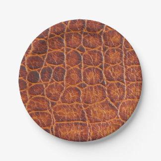 Assiettes En Papier Copie de peau de crocodile de Brown de Faux