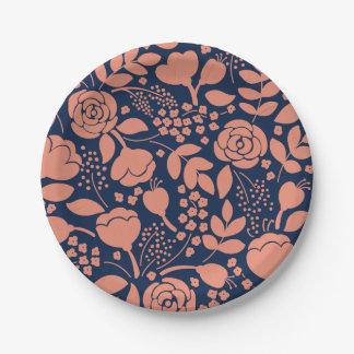 Assiettes En Papier Corail et plaque à papier de motif floral de bleu