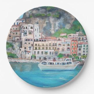 Assiettes En Papier Côte d'Amalfi - plaques à papier faites sur