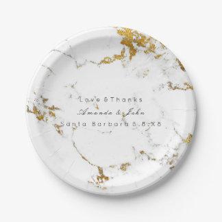 Assiettes En Papier Courses d'or en pierre de marbre blanches de