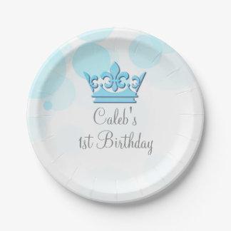 Assiettes En Papier Coutume royale bleue de couronne et de fête