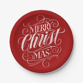 Assiettes En Papier Craie chrétienne de Joyeux Noël marquant avec des