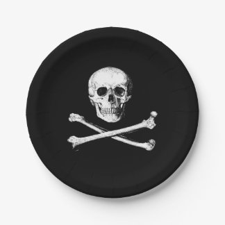 Assiettes En Papier Crâne et plaques à papier d'os croisés