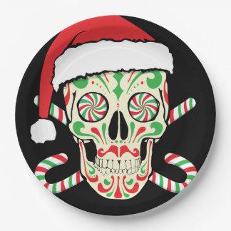 Assiettes En Papier Crâne Père Noël de sucre