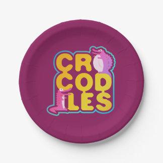 Assiettes En Papier Crocodiles avec deux crocs heureux