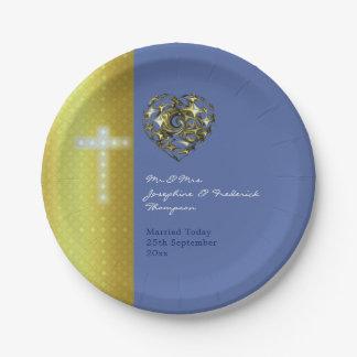 Assiettes En Papier Croix de mariage de bleu et d'or