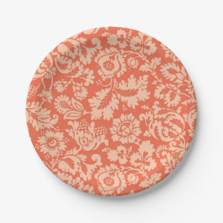 Assiettes En Papier Damassé, pêche et corail floraux de William Morris