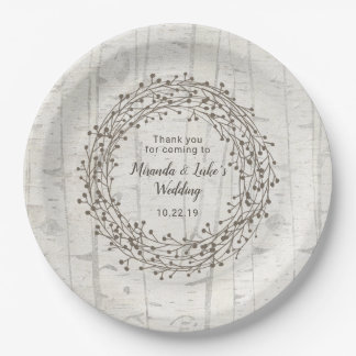 Assiettes En Papier Décor de mariage de Birchwood, guirlande rustique