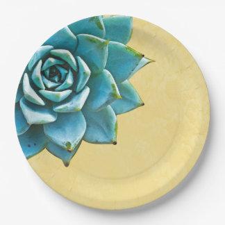 Assiettes En Papier Dentelle succulente de jaune d'aquarelle
