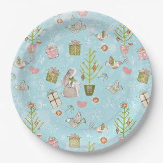 Assiettes En Papier Des lapins et du motif Noël-Noël pour des enfants