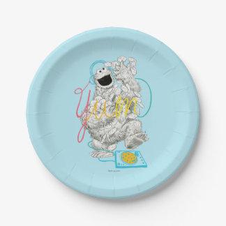 Assiettes En Papier Dessin de croquis du monstre B&W de biscuit