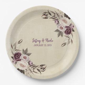 Assiettes En Papier Dîner floral de réception de pivoines mauve-foncé