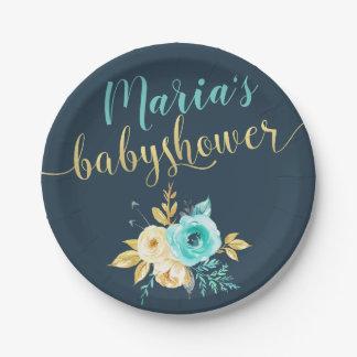 Assiettes En Papier Douche florale turquoise de bébé d'or bleu-foncé