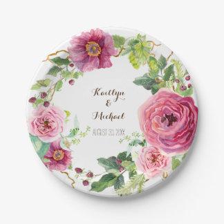 Assiettes En Papier Douche nuptiale de guirlande d'aquarelle de rose