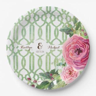 Assiettes En Papier Douche nuptiale de pivoine rose florale de