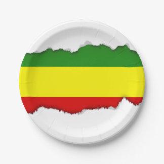 Assiettes En Papier Drapeau de fierté de Rastafarian