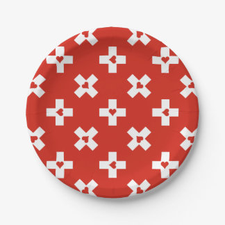 Assiettes En Papier Drapeau de la Suisse avec le motif de coeur