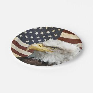 Assiettes En Papier Drapeau des USA Etats-Unis de cru avec l'Américain