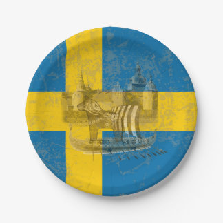 Assiettes En Papier Drapeau et symboles de la Suède ID159