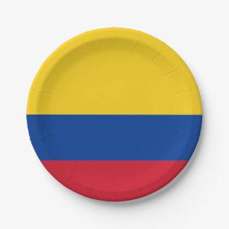 Assiettes En Papier Drapeau : La Colombie