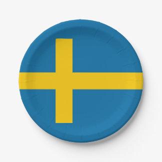 Assiettes En Papier Drapeau national de la Suède