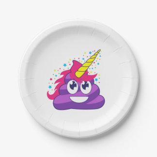 Assiettes En Papier Dunette pourpre de licorne d'Emoji