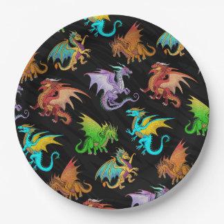 Assiettes En Papier École colorée de dragons d'arc-en-ciel